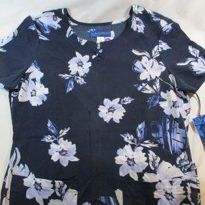 """NWT Koi Blue """"Camilla"""" Floral Scrub Top S"""